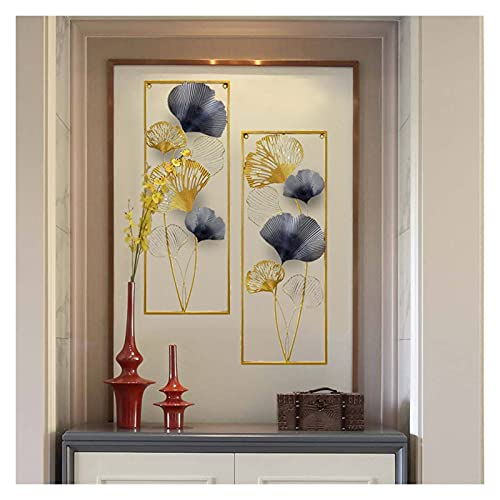 DINGFAN Metal Wall Art Creative Handmade Leaves, Nature Home Art Decoration Modern Light Luxury Kitchen Gifts, for Study Living Room Bedroom Artwork Hotel Decor Indoor Outdoor (Size : 1)