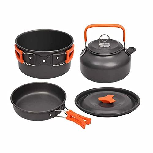 HAHFKJ Camping Kit de Utensilios de Cocina Juego de Aluminio al Aire Libre Juego de cocinas de Agua Hervidor de Agua Pan Pozo Viajando Senderismo Picnic Barbacoa Equipo de vajilla (Color : A)