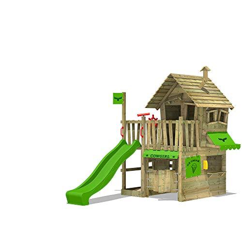 FATMOOSE Spielturm Klettergerüst CountryCow mit apfelgrüner Rutsche, Spielhaus mit Sandkasten, Leiter & Spiel-Zubehör
