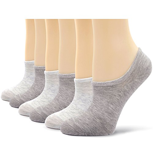Womens No Show Trainer Socks Invisible Non Slip Athletic Cotton Ankle Socks Low Cut Liner, 6 pairs - Grey/Light Grey - One Size
