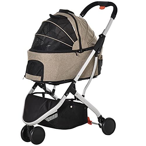 PawHut 2 In 1 Foldable Dog Stroller Aluminium Pet Travel Carrier Adjustable Canopy Universal Wheel Brake Basket Light Brown