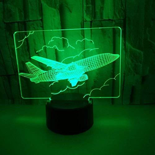 Allamp Norte de Europa Cielo gradiente de colores de la lámpara LED Touch Control Remoto Avión 3D estéreo USB luz de la noche de noche Escritorio un imaginativo de navidad adornado regalo de cumpleaño