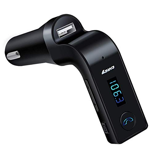 Kimloo CARG7 Universal Wireless Bluetooth FM Transmitter in-Car FM Adapter Car Kit with Hand-Free Call/Stereo Music Player and USB Car Charger for All Android and iOS Devices (Colour May Vary)
