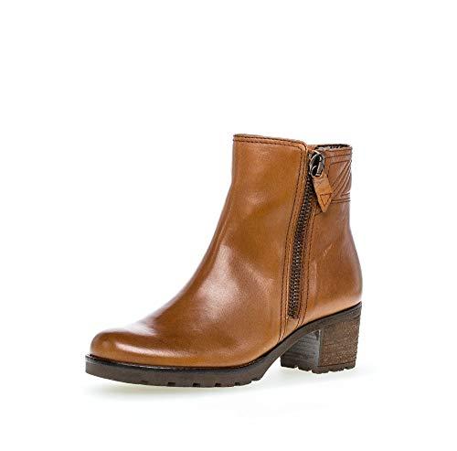 Gabor Damen Plateau Stiefeletten, Frauen Klassische Stiefelette,Comfort-Mehrweite, Boot halbstiefel Bootie,Cognac (Flausch),39 EU / 6 UK