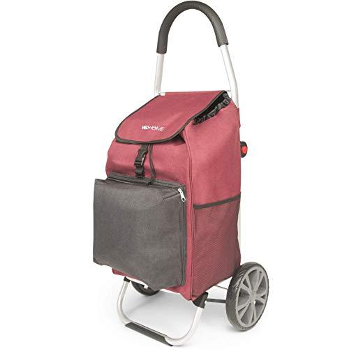 VeoHome – Einkaufsroller 40L mit Kühlfach - Einkaufstrolley große Räder Klappbar Treppensteiger aus Aluminium - Ergonomisch, Stabil und Kompakt faltbar – Rot und Schwarz
