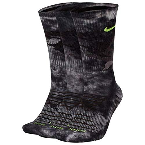 Nike Mens DRI FIT 3 Pair CREWSocks (Large, Vast Gray)