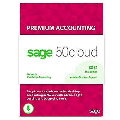 Sage 50cloud Premium Accounting 2021 U.S. 1-User One Year Subscription Cloud Connected Small Business Accounting Software [PC Download]