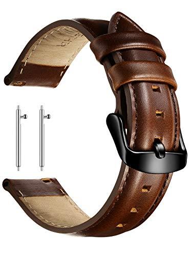 XIRUVE Pasek do zegarka z prawdziwej skóry z szybkim zapięciem, zapasowy pasek dla kobiet i mężczyzn 18-22 mm 20mm Dunkelbraun , Schwarz Schnalle
