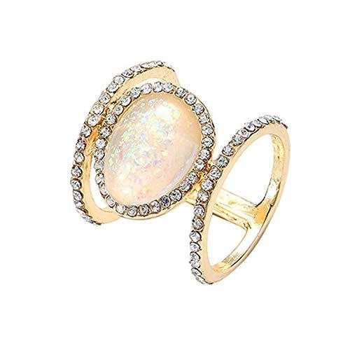 Anillos de nudillo, anillos de dedo, diseño de hojas creativas para mujeres, aleación hueca hacia fuera anillo de diamantes de imitación joyería - Sea Blue US 9