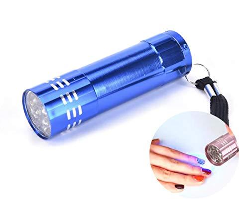 1pc Blu 9 Led in Alluminio Mini Torcia elettrica Uv di Dryer Lampada Per Nail Art in Gel, Torcia di Polimerizzazione della Resina Gioielli, Portatile per i Viaggi 84mm x 23mm