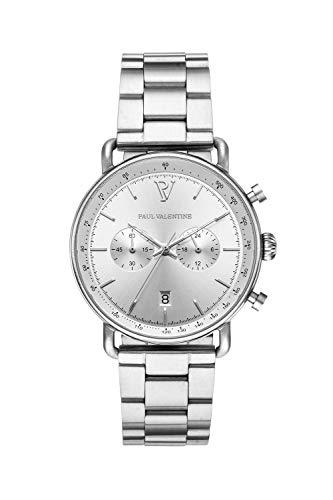 PAUL VALENTINE ® Herrenuhr mit Armband aus hochwertigem Edelstahl - Mit Saphirglas - 40 mm Durchmesser - Edle Herren Uhr mit japanischem Quarzwerk - Armbanduhr für Herren