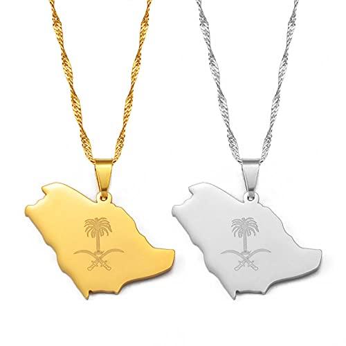 Collares Arabia Saudita mapa y emblema símbolo Cruz espada colgante collares joyería saudita-oro Color_60cm o 23,7 pulgadas