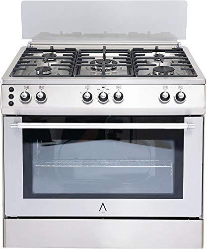 ALPHA Cocina de Gas VULCANO LUX-90 Inox, Encendido automático, corte de gas seguro y temporizador en horno. **Alta Gama**