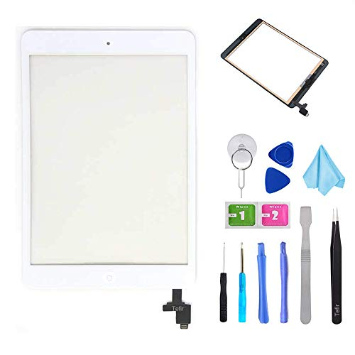 Tefir iPad Mini 1 & 2 A1432 A1489 Touch Screen Digitizer Voorpaneel Glas Lens Reparatie Vervanging Zwart-Inclusief IC Chip+ Voorgeïnstalleerde Lijm+Gereedschap Kit