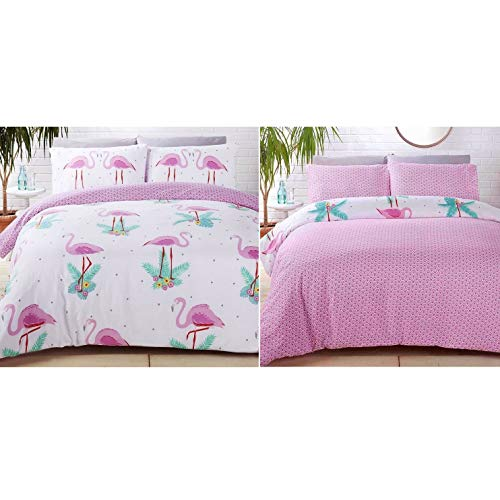 Rapport Flamingos Duvet Set, Polyester-Cotton, Multi-Colour, King