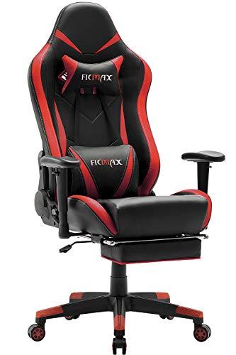 Ficmax Gaming stühle Ergonomischer Computer Spielstuhl Racing Stil E-Sports Stuhl mit Massage Lordosenstütze, PU Leder Reclining Computerstühle, Gamer Stühle mit Ausziehbarem Fußraste (rot&schwarz)