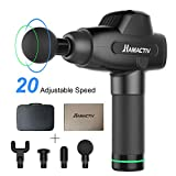 HAMACTIV Massage Gun, Upgraded Handheld Vibration Deep Tissue Muscle Massager Device, Powerful Cordless Percussion to Full Body Muscle Massager with 20 Adjustable Speed and 4 Attachments (Black)
