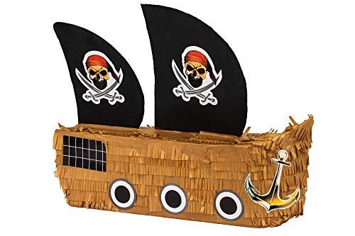 Trendario Pinata Piratenschiff, Ideal zum Befüllen mit Süßigkeiten und Geschenken - Piñata für Kindergeburtstag Spiel, Geschenkidee, Party, Hochzeit