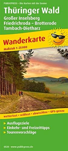 Thüringer Wald, Großer Inselsberg - Friedrichroda - Brotterode - Tambach-Dietharz: Wanderkarte mit Ausflugszielen, Einkehr- & Freizeittipps, ... GPS-genau. 1:25000 (Wanderkarte: WK)