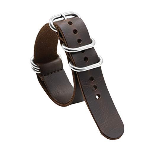 18mm/20mm/22mm Leder NATO Armband handgemachter bequemer Armband Ring Dornschließe Kaffee, 20mm