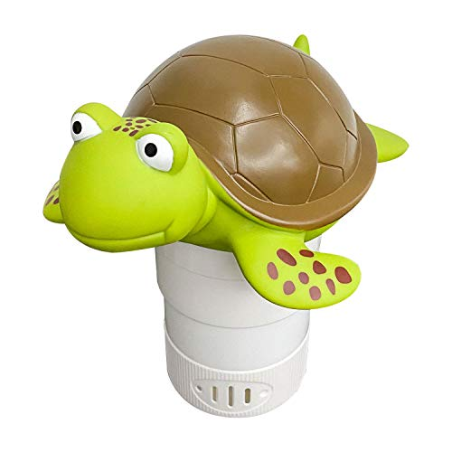 "ALLADINBOX Premium Animal Floating Pool Chlorine Dispenser for Chemical Tablets Fits 3"" Tabs Bromine Holder (Turtle)"