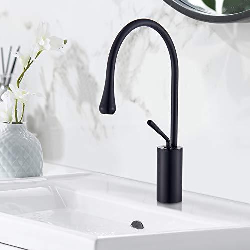 JUNSHENG - Grifo alto para baño, lavabo, moderno, giratorio a 360°, grifo y frío y caliente, ajustable, color negro