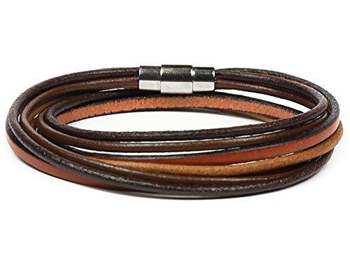 Simaru Lederarmband Wickelarmband mit Edelstahlverschluss inkl. Magnet für Herren & Damen Armband mit Premium Qualität braun/rotbraun in S bis XL (XL - braun)