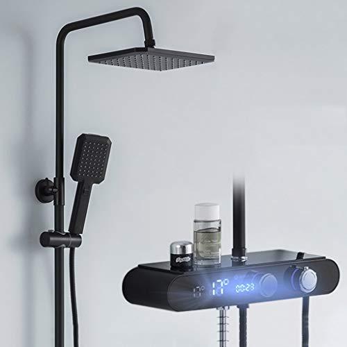 GYL Cobre Termostático Ducha Juego de Ducha con Pantalla Digital Inteligente, Pantalla LCD Diseño Moderno Set de Ducha Montaje en Pared (Color : Black(Hot and Cold))