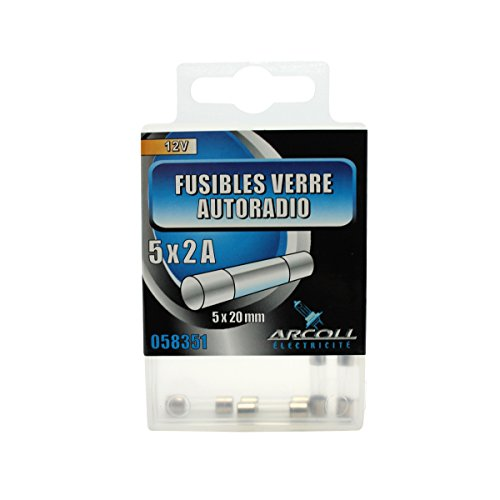 ARCOLL 58351 autoradio-zekering van glas, 2 A, 5 stuks