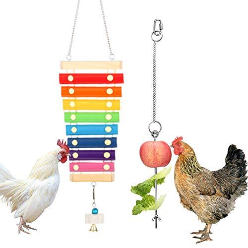 Hühnerspielzeug,Huhn Gemüse Spieß Obsthalter und Aufhängbares Holz Xylophon Spielzeug Henne Musikalisches Spielzeug mit 8 Metallschlüsseln und Schleifstein für Küken Hühnchen Xylophon Spielzeug