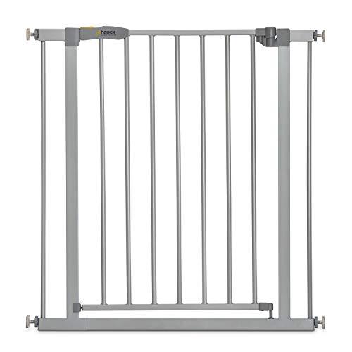 Hauck Türschutzgitter / Treppenschutzgitter für Kinder Stop N Safe 2 Safety Gate / ohne Bohren / 75 - 80 cm breit / erweiterbar mit separater Verlängerung / Metall Gitter / grau