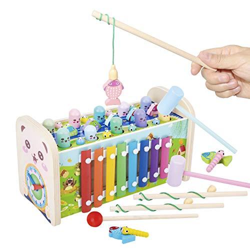 Arkmiido Juguetes de Madera 7 en 1 Martillo para niños con 3 martillos y 2 cañas de Pescar; Juguete Gopher para Banco de Martillo Educativo Regalo para niño niña
