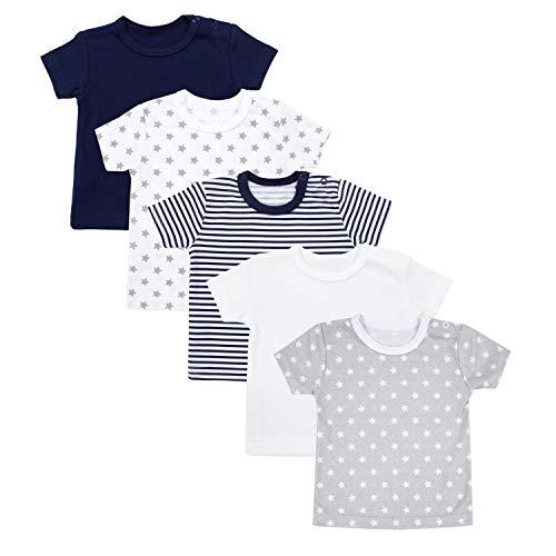 TupTam Baby Unisex Kurzarm T-Shirt Sterne Streifen 5er Set, Farbe: Mehrfarbig, Größe: 86