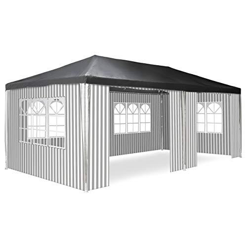 Nexos Pavillon 3x6 m in anthrazit/weiß PE Plane 110g/m² Partyzelt Gartenzelt Sonnenschutz Stahlgestell Festivalzelt Eventzelt Partyzelt Metallgestänge
