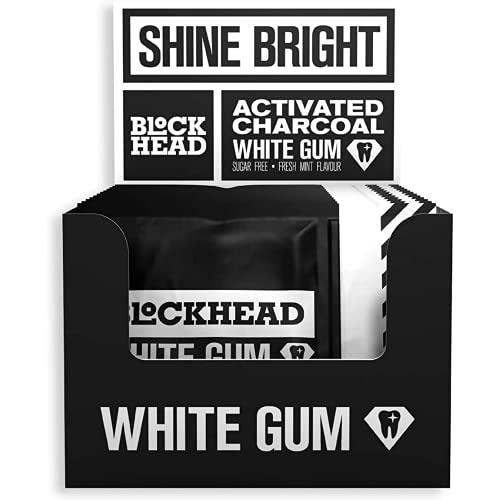 Chicle blanqueador Blockhead   Carbón activado   Contribuye a eliminar las manchas   Protege los dientes   Con calcio, xilitol y bicarbonato sódico