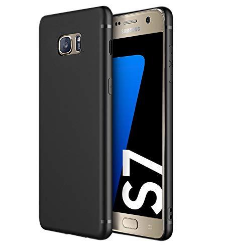 Funda resistentes Slim-Case para Samsung Galaxy S7 [smart engineered] - Carcasa protectora de silicona - Estera, Negro, Resistente a los arañazos