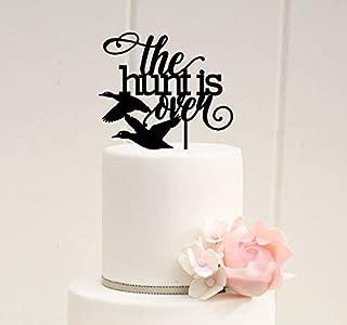 The Hunt is Over Duck Hunting Wedding Cake Topper - Couple Flying Firmus Custom Cake Topper.