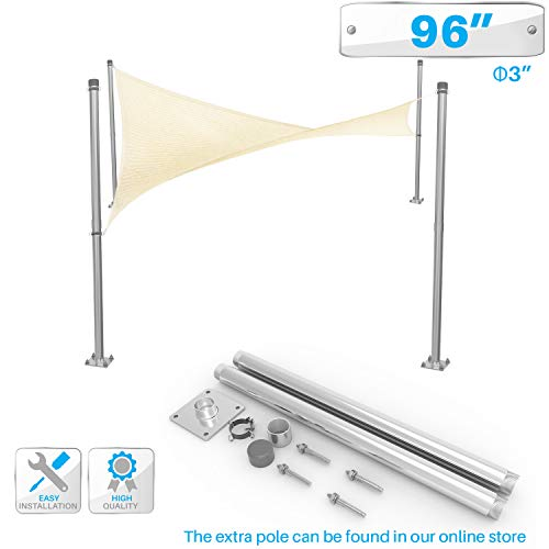 Patio Sun Shade Sail Canopy Pole Post Kit 8' Feet Tall (96') Stand Post Heavy Duty Metal Shade Posts Canopy Awning Canvas Tarp Support Poles Deck Galvanized Steel Silver