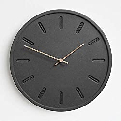 Stephanie Imports Modern Minimalist Concrete Black Embossed Dial Wall Clock
