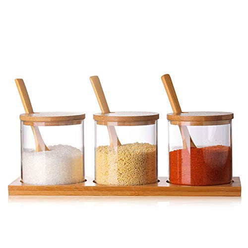 HAIRY Food Storage Glass Jars Condiment Can Kitchen Organizer Containers with Bamboo Lid and Wooden Spoon for Food Storage Sealing