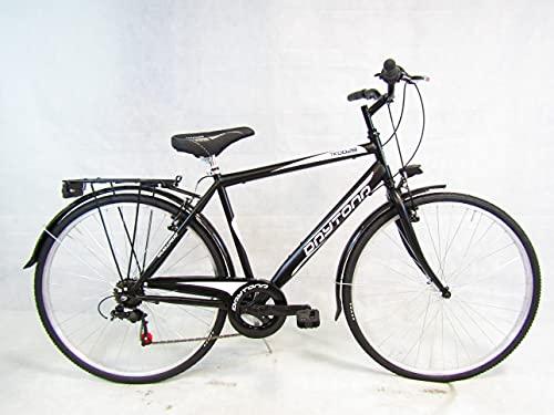 bicicletta uomo bici da passeggio city bike trekking 28 shimano 6 velocita (nero) Daytona