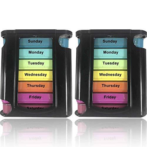 Stackable Daily Pill Organizer - 2-pack, 4 gånger om dagen Läkemedelspåminnelse varje vecka - Premium varje vecka AM / PM-pillerbox med 7 individuella stapelfodral, en daglig medicinsk arrangör för vitaminer