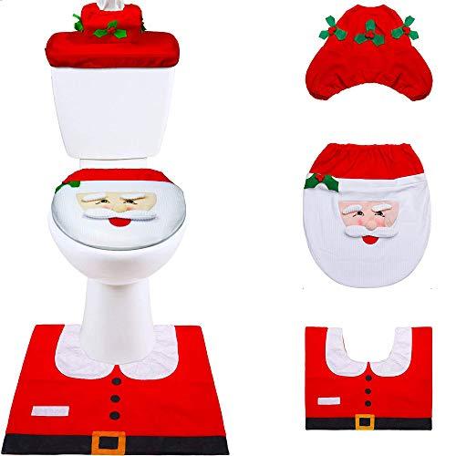 Decoración de Navidad Santa WC Set de 4pcs Funda de Inodoro de Navidad