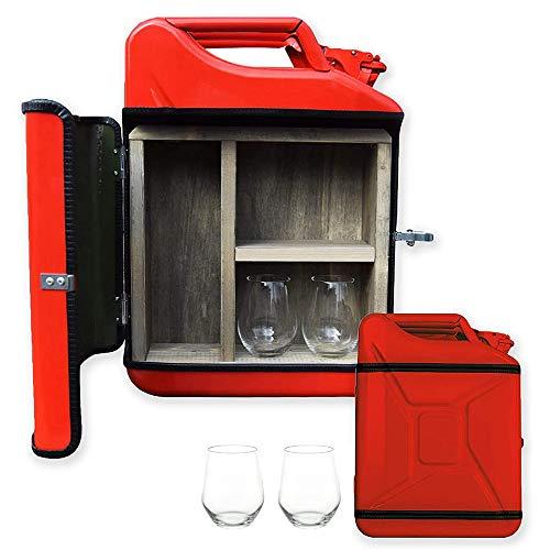 mikamax – Jerrycan Ginbar 20L - Kanister bar - Mobile bar - Dutch Design - Barschrank - 20L – Rot – mit Zwei Gin-Gläsern