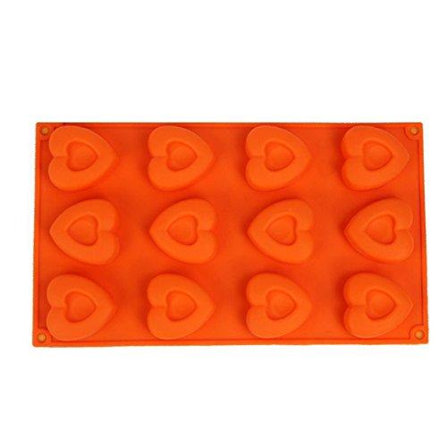 FantasyDay 12 Cavités Ustensiles à pâtisserie Antiadhésif Moule en silicone Pour Muffins, gâteau au chocolat, moule à savons, Cupcake Et Gelée - Ustensile de cuisine en silicone plus épais de qualite superieur - Forme de Coeur