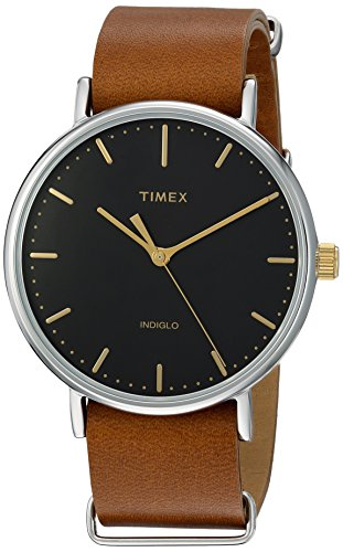 Timex Unisex TW2P97900 Fairfield 41 Brown Leather Slip-Thru Strap Watch