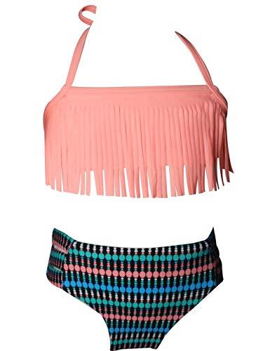 Echinodon Mädchen Bikini Set Bademode mit Fransen Zweiteiler Neckholder Kinder Badeset Badeanzug Pink 116