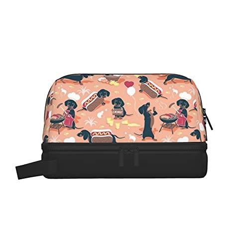 Multifunktionale Kulturbeutel, Make-Up-Tasche, Kosmetik-Organizer, Reise-Kulturbeutel zum Aufhängen, für Männer und Frauen (Hot Dogs und Limonade, süße Dackel)