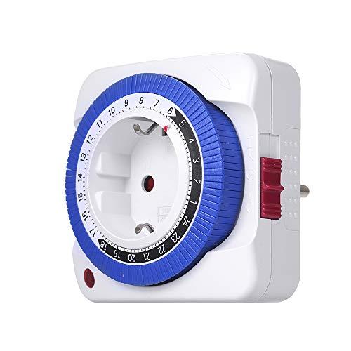 Zeitschaltuhr Mechanische KKmoon Zeitschaltuhr, 24 Stunden Analog Timer, Steckdosen Schaltuhr, mit 96 Schaltsegmenten, 3680W, mit Kinderschutzsicherung