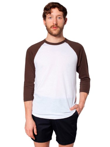 T-shirt Raglan Manches 3/4 en Poly-Coton - White / Navy / L